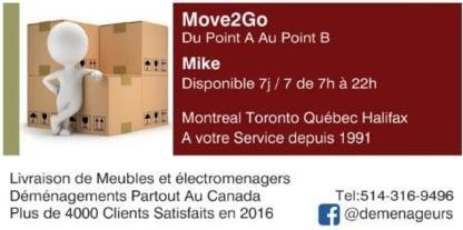 Move2Go Transport Déménagement - Déménagement et entreposage - 1-888-298-9111