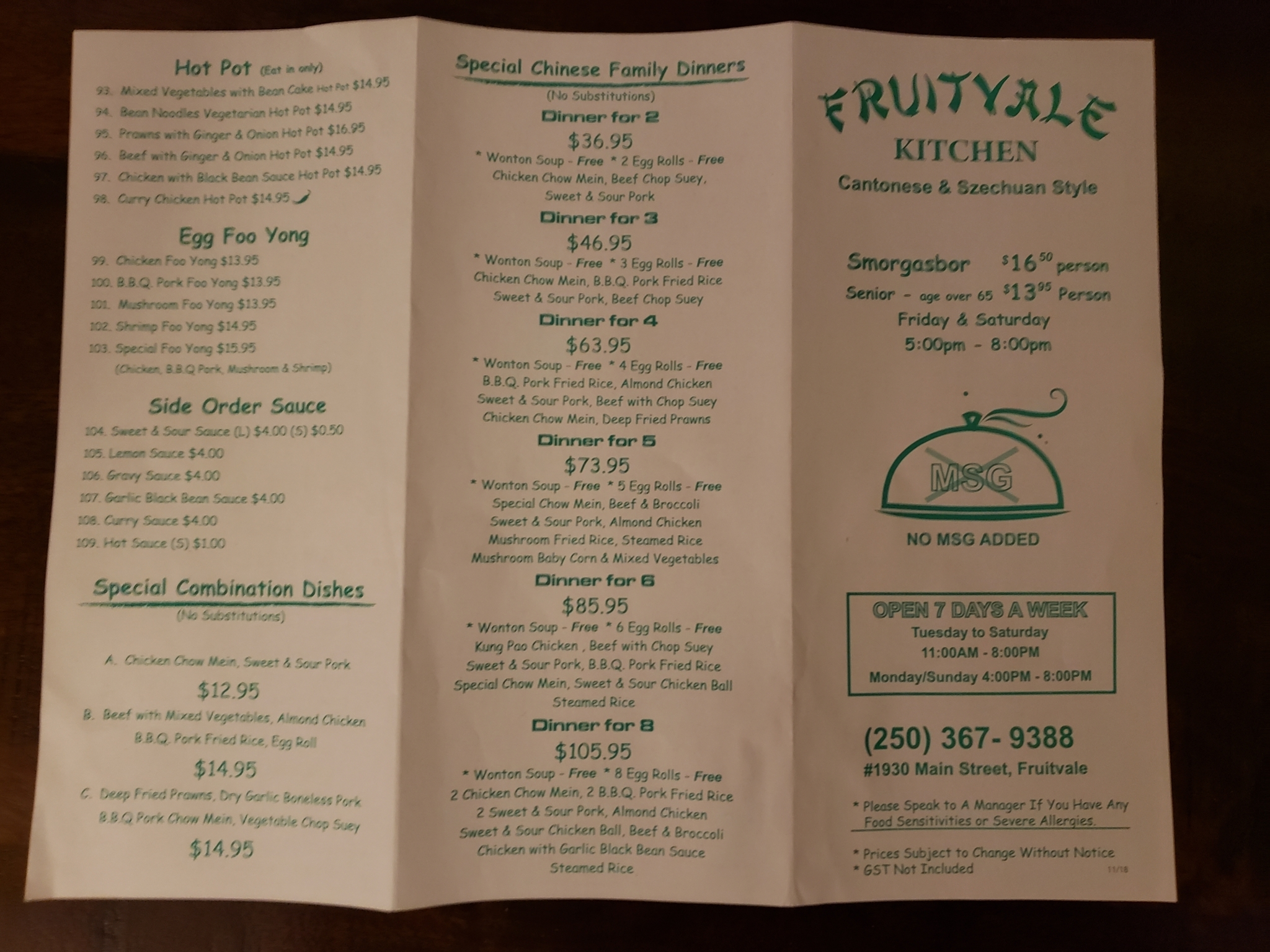 Fruitvale Kitchen Menu Hours Prices 1930 Main Fruitvale Bc