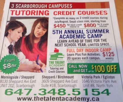 The Talent Academy Tutoring and Credit Courses - Special Purpose Academic Schools - 647-348-5154