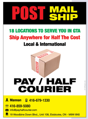 Pay Half Courier Services - Courier Service - 416-859-5080
