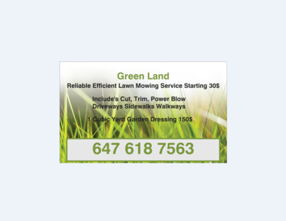 Green Land - Lawn Maintenance - 647-618-7563