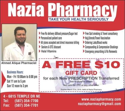 Nazia Pharmacy - Pharmacies - 587-354-7700