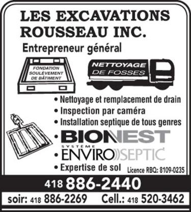 Les Excavations Rousseau - Entrepreneurs en drainage - 418-520-3462