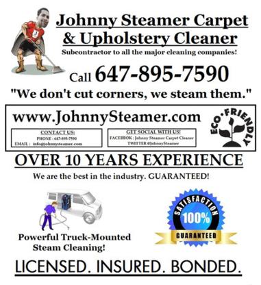Johnny Steamer Carpet Cleaner - Carpet & Rug Cleaning - 647-895-7590