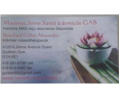 Massage Soins Santé à Domicile GAB - Massothérapeutes - 418-561-6798