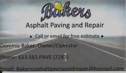 Bakers Asphalt Paving & Repair - Paving Contractors - 613-583-7283