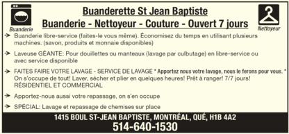 Buanderette St Jean Baptiste Enr - Nettoyage à sec - 514-640-1530