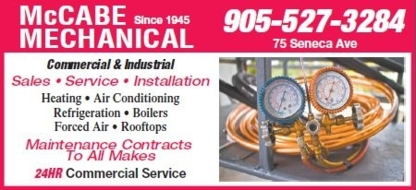 McCabe Mechanical & Refrigeration - Air Conditioning Contractors - 905-527-3284