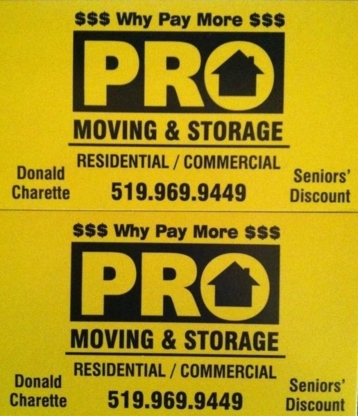 Pro Moving & Storage - Moving Services & Storage Facilities - 519-969-9449