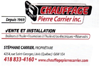 Chauffage Pierre Carrier - Heating Contractors - 418-833-4160