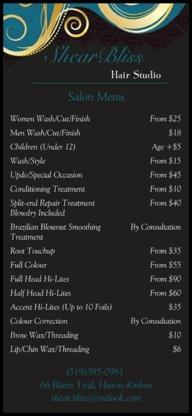 Shear Bliss Hair Studio - Waxing - 519-395-0981