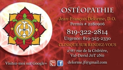 Jean-François Delorme Ostéopathe D O - Holistic Health Care - 819-322-2814