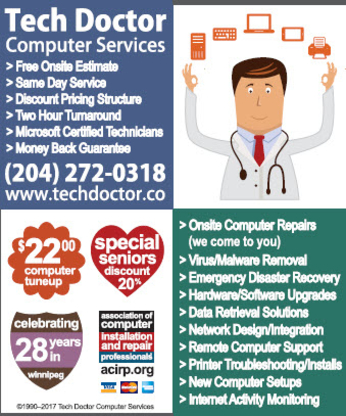 Tech Doctor Computer Services - Computer Repair & Cleaning - 204-272-0318