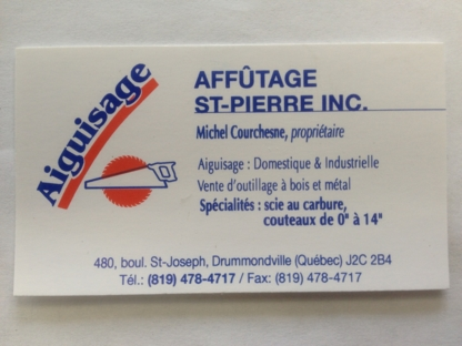 Affutage St-Pierre Inc Aiguisage - Saw Sharpening & Repair - 819-478-4717