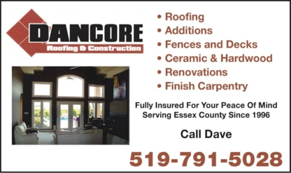 DANCORE Roofing & Construction - Roofers - 519-791-5028