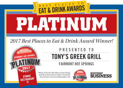 Tony's Greek Grill - Greek Restaurants - 250-345-6661