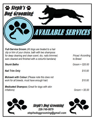 Steph's Dog Grooming - Pet Grooming, Clipping & Washing - 226-749-0879