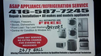 ASAP Appliance/Refrigeration Service - Major Appliance Stores - 416-587-7245