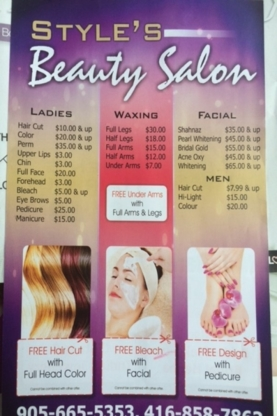 Styles Beauty Salon - Épilation à la cire - 905-665-5353