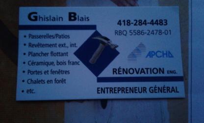 Ghislain Blais Rénovation Enr - Entrepreneurs généraux - 418-284-4483