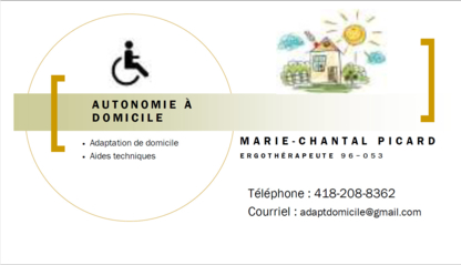 Autonomie à Domicile - Ergothérapeutes - 418-208-8362