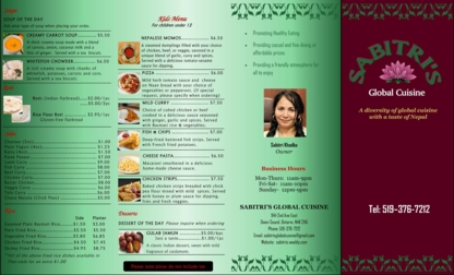 Sabitri Khadka Global Cuisine - Restaurants - 519-376-7212