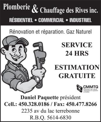 Plomberie et Chauffage des Rives - Plombiers et entrepreneurs en plomberie - 514-791-4669