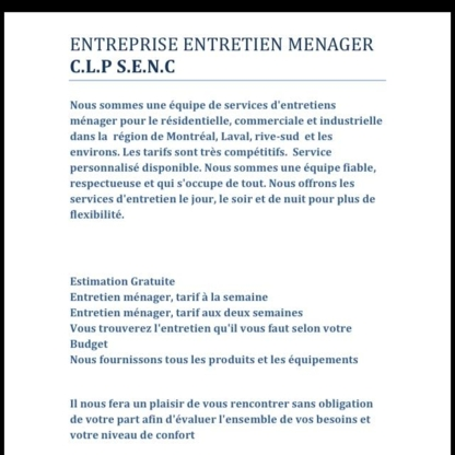 Entretien Ménager CLP S.E.N.C - Commercial, Industrial & Residential Cleaning