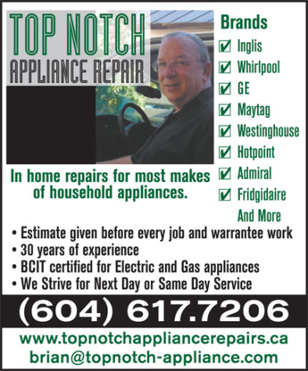 Top Notch Appliance Repair - Major Appliance Stores - 604-617-7206
