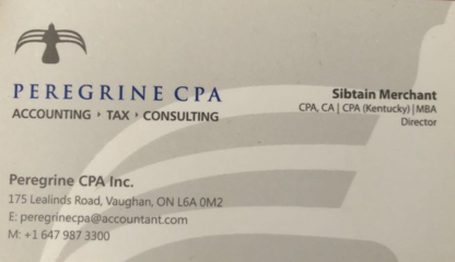 Peregrine CPA Professional Corporation - Accountants - 647-987-3300