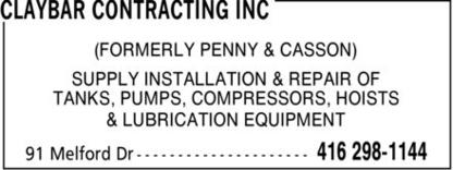 Claybar Contracting Inc - Installation et enlèvement de réservoirs