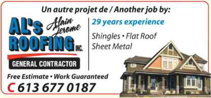 Al's Roofing - Home Improvements & Renovations - 613-677-0187