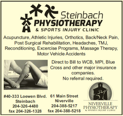 Niverville Physiotherapy And Sport Injury Clinic Inc - Physiotherapists