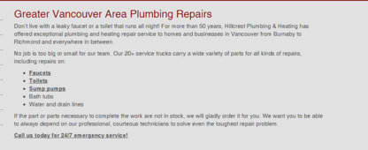 Hillcrest Plumbing & Heating - Water Heater Dealers - 604-279-9419