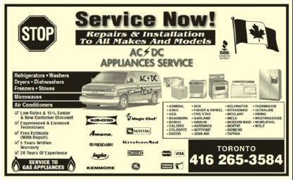 Ac Dc Appliance Service - Major Appliance Stores