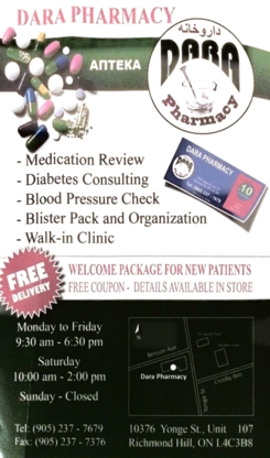 Dara Pharmacy and Walk-in Clinic - Pharmacies - 905-237-7679