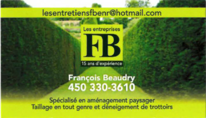 Les Entretiens FB Enr - Paysagistes et aménagement extérieur - 450-330-3610
