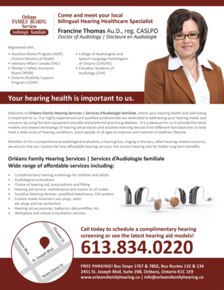 Orleans Family Hearing Service - Audiologists - 613-834-0220