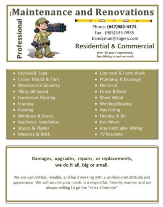 Professional Handyman Services & Renovations - Home Improvements & Renovations - 647-982-4374