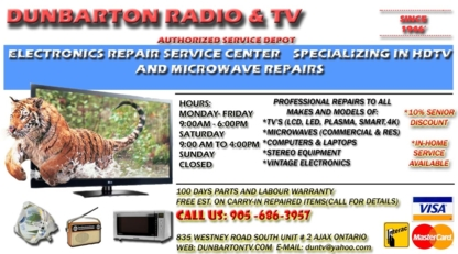 Dunbarton Radio & Tv - Television Sales & Services - 905-686-3957