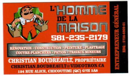 l'Homme de la Maison Christian Boudreault - Home Improvements & Renovations