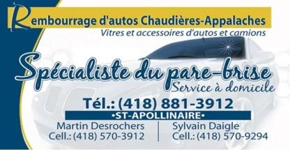 Rembourrage d'autos & pare-brise Chaudières - Pare-brises et vitres d'autos
