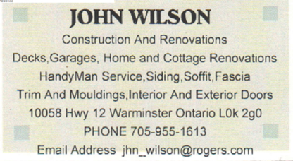 John Wilson - HandyMan Services - Home Improvements & Renovations - 705-955-1613