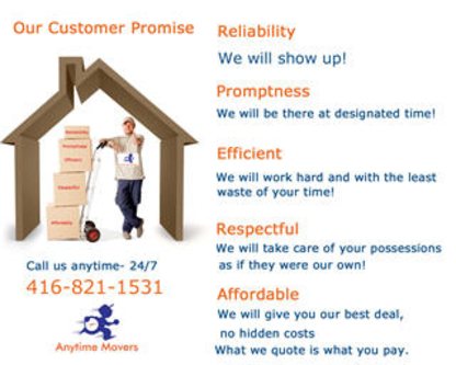 Anytime Movers - Moving Services & Storage Facilities - 416-821-1531