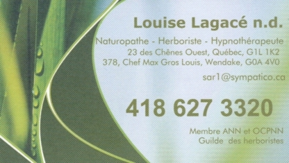 Louise Lagacé Hypnothérapeute-Naturopathe - Hypnosis & Hypnotherapy - 418-627-3320