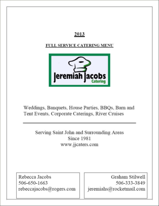Jeremiah Jacobs Catering - Wedding Planners & Wedding Planning Supplies - 506-650-1663