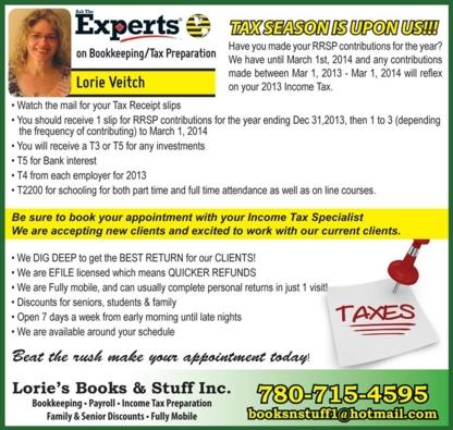 Lorie's Books & Stuff - Bookkeeping - 780-715-4595