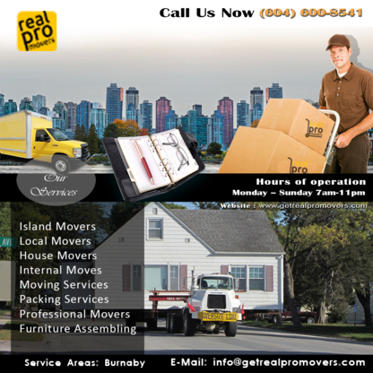 Real Pro Movers - Déménagement et entreposage - 604-600-8541