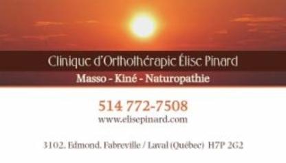Clinique d'Orthothérapie Élise Pinard (Massothérapie) - Orthothérapeutes - 514-772-7508
