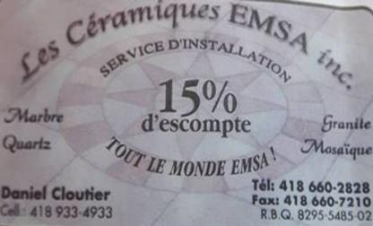 Les Céramiques Emsa Inc - Carreleurs et entrepreneurs en carreaux de céramique - 418-933-4933